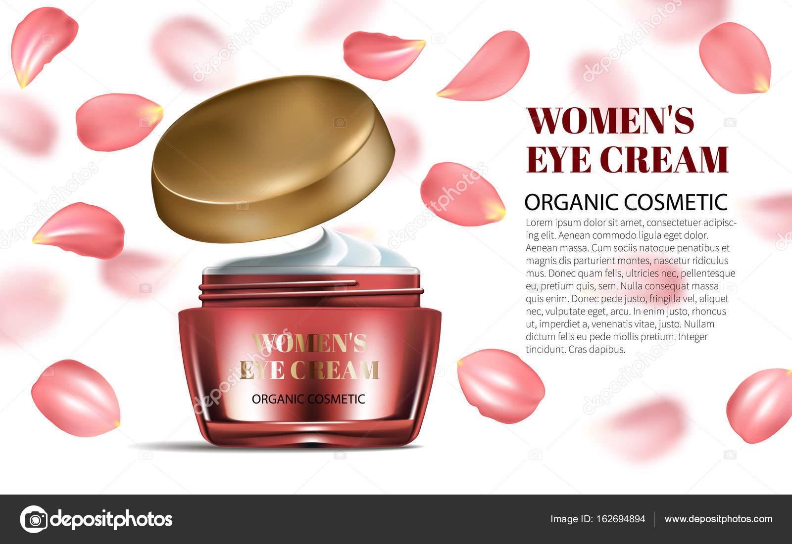 0eb5f99c4e86eb Realistico donna aperto crema per viso e occhi con petali rosso bottiglia  Mockup su sfondo abbagliante. Contenute in vetro. Ottima pubblicità.