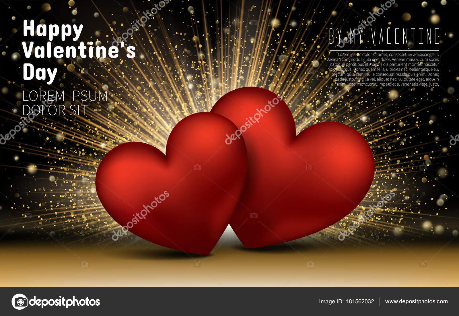 Happy Valentines Day. Golden Luxus eleganten Herzen Liebe Glitzer ...