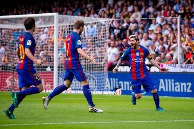 Lionel Messi (right) celebrates a goal