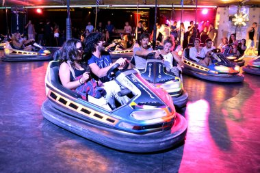People at bumper cars