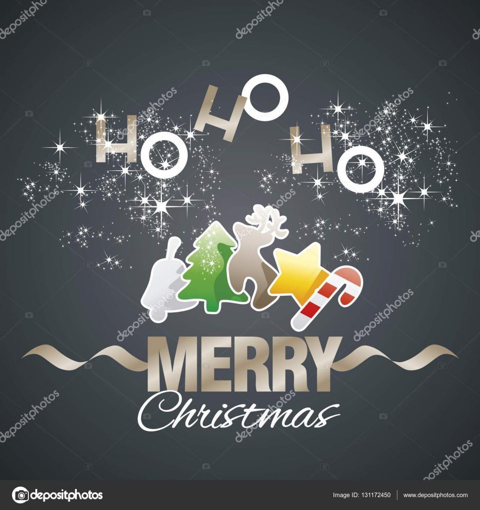 Ho-ho-ho Merry Christmas color elements black vector — Stock Vector ...