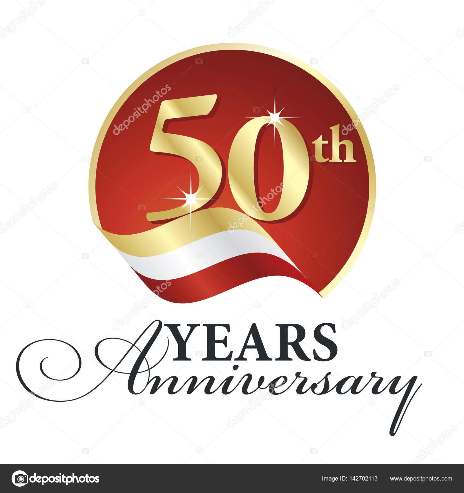 Verjaardag 50 Th Jaren Vieren Logo Goud Wit Rood Lint Achtergrond
