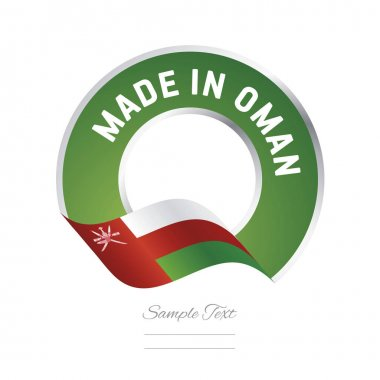 Made in Oman flag green color label button banner