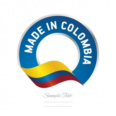 Made in Colombia flag blue color label logo icon