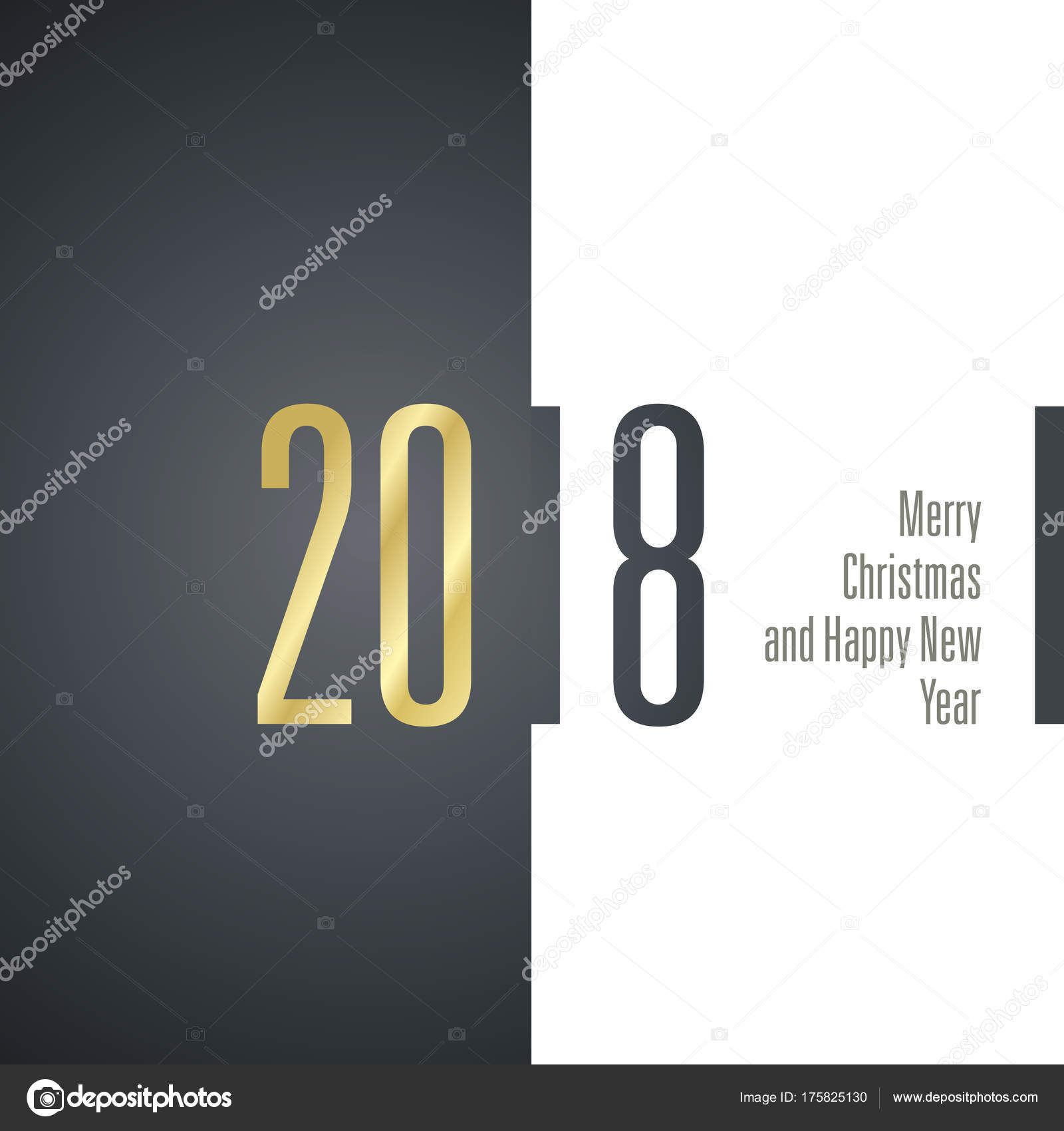 merry christmas happy new year 2018 gold black white banner stock vector