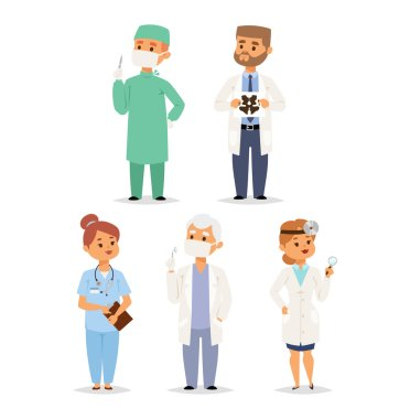 Doctor charactser vector isolated. Vector illustration of doctor on white background. Flat style different doctors characters in uniform clip art vector