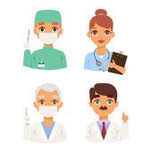 Fotografie Doctors spetialists faces vector set.