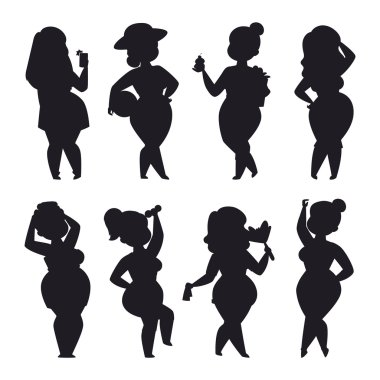 Fat girl vector set.