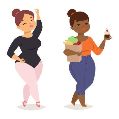 Fat girl vector illustration character