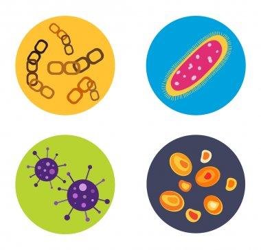 Bacteria virus vector icon