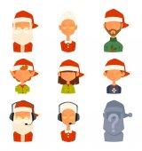Santa Claus Familie Frau, Vektor Kinder Avatare