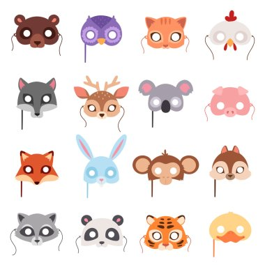 Set of cartoon animals party masks vector.