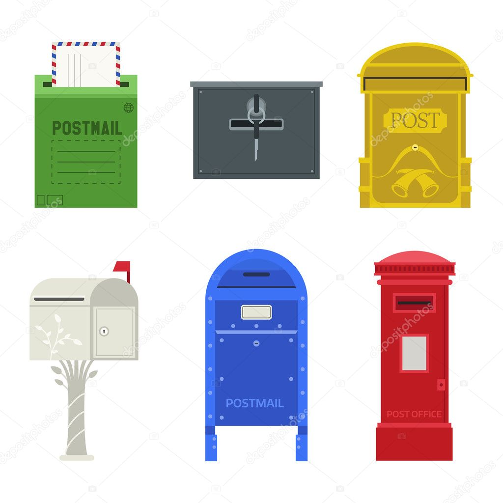 closed mailbox. Beautiful Rural Curbside Open And Closed Mailboxes With Semaphore Flag Vector Illustration. Traditional Communication Empty Postage Post Mail Box. Mailbox