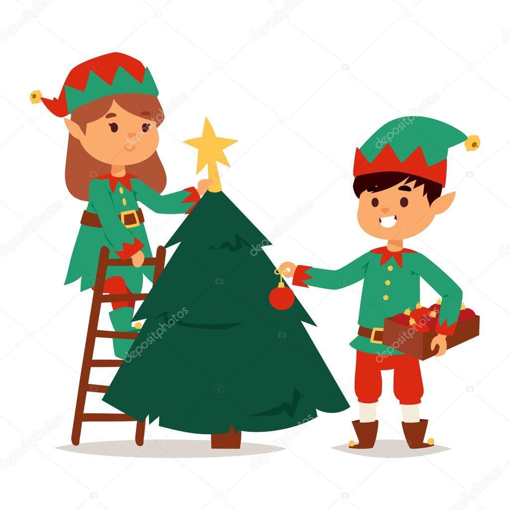 Papai Noel Crianças Ajudantes De Elf Dos Desenhos Animados