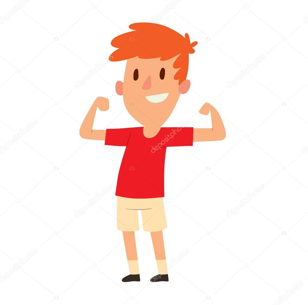 Depositphotos Stock Illustration Strong Young Boy Vector Muscles Male Arm Flexing