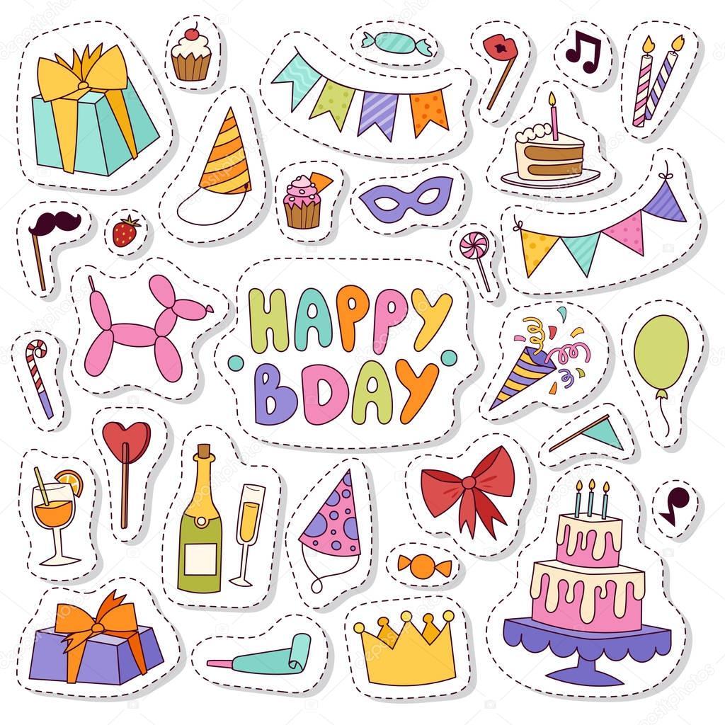Geburtstag-Symbole im flachen Farben Stil — Stockvektor © adekvat ...