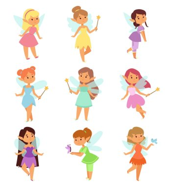 Fairies cartoon characters vector set.