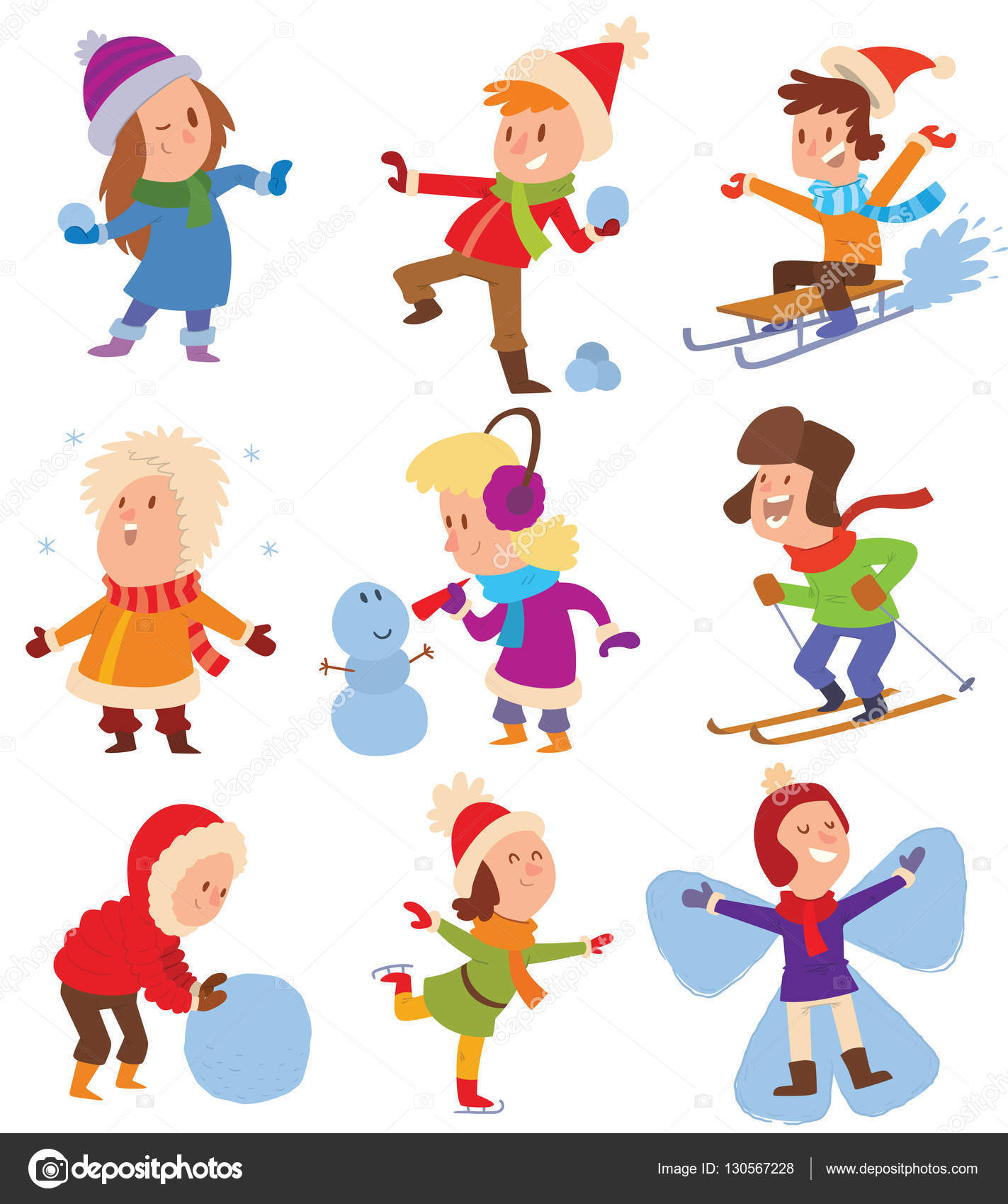 Christmas kids playing winter games — Stock Vector © adekvat ...