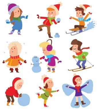 Christmas kids playing winter games. Skating, skiing, sledding, girl dresses up Christmas tree, boy makes a snow man, children playing snowballs. Cartoon New Year winter holidays background. stock vector