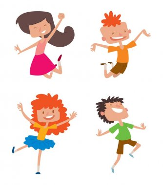 Happy children in different positions vector set.