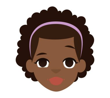 Afro american girl vector illustration.