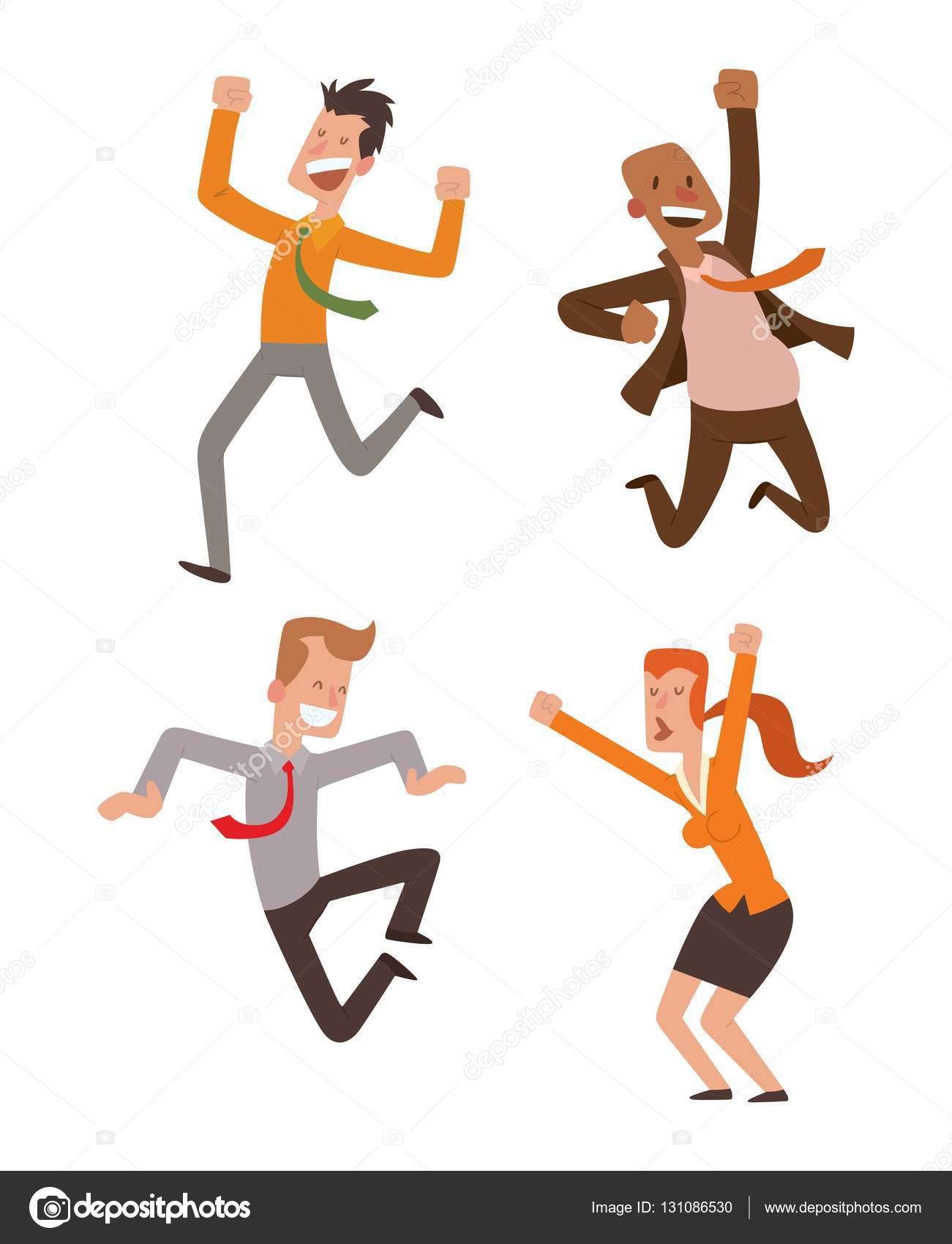 Happy jumping people vector set. — Stock Vector © adekvat ...
