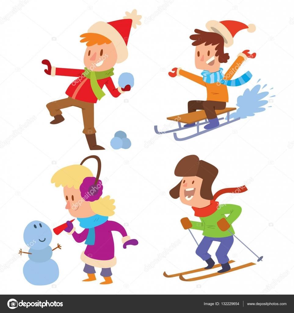Enfants no l jouer des jeux d hiver image vectorielle - Jeux pere noel luge ...