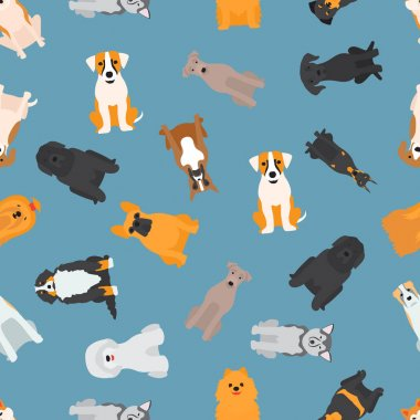Different dogs breed seamless pattern