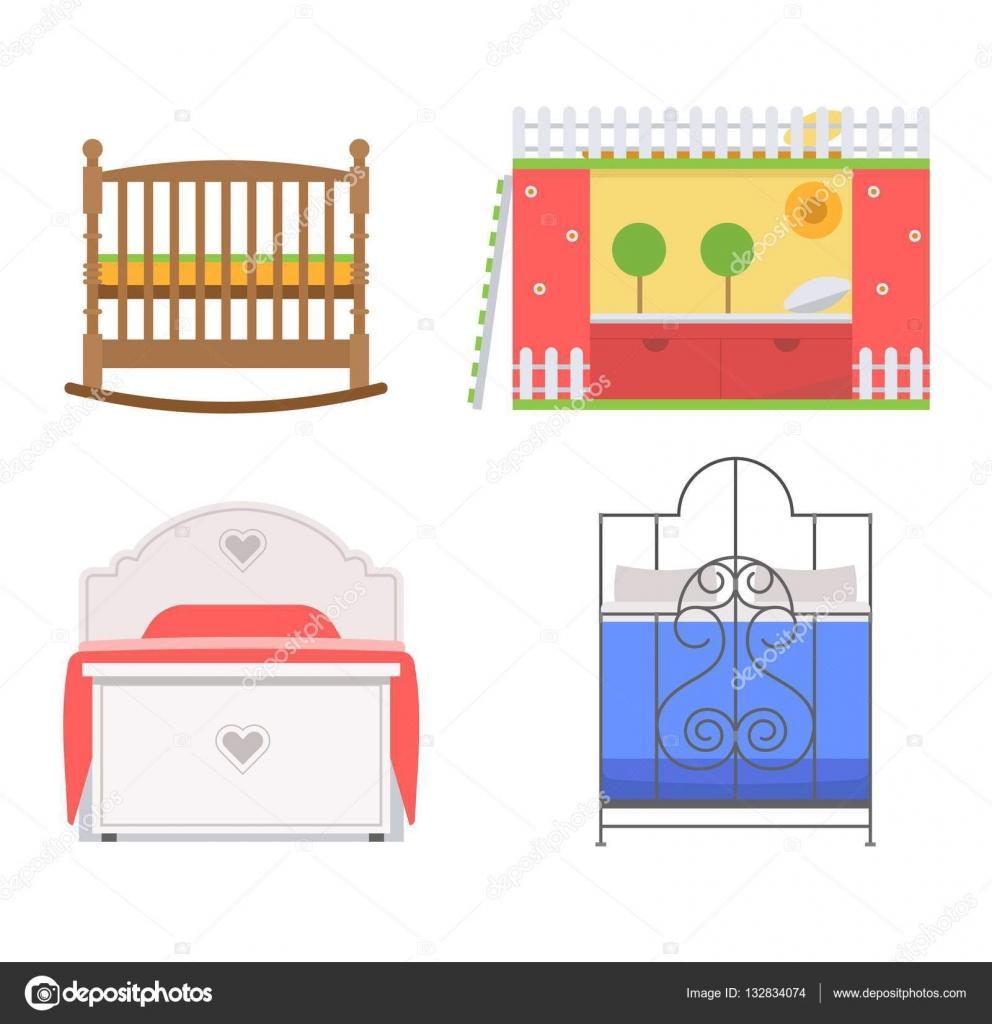 conjunto de iconos de Vector cama — Archivo Imágenes Vectoriales ...