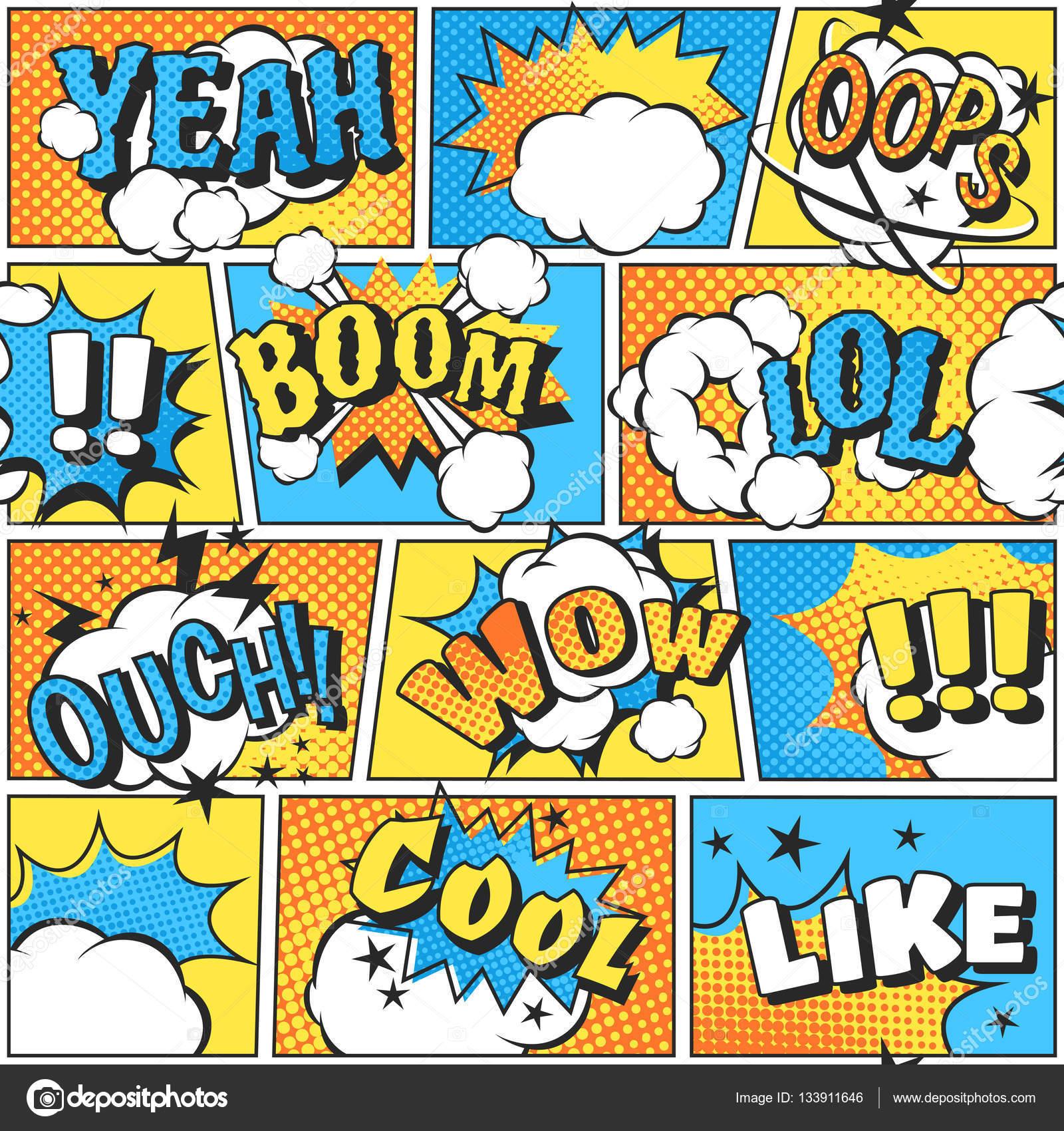 Som de efeito bum estilo c mico em pop arte vetorial - Papel pared comic ...