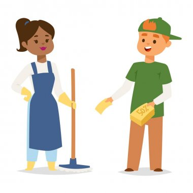 Cleaners people vector character.