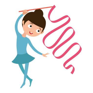 Teenager doing gymnastics dance with ribbon vector.