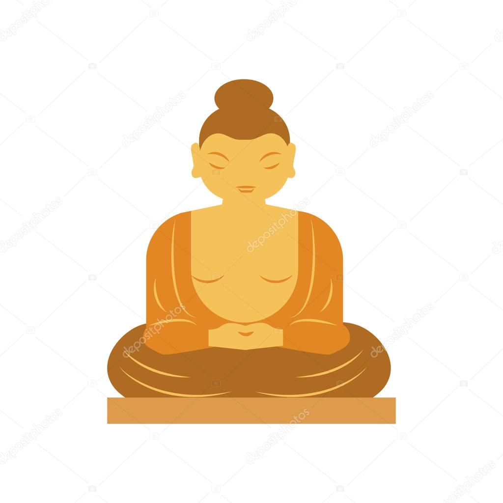 Buddha bangkok thailand religion statue vector illustration.