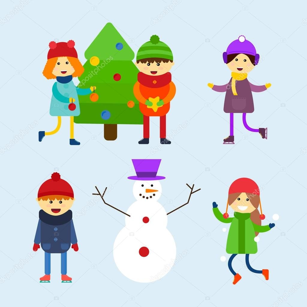 Kids playing winter games vector illustration.