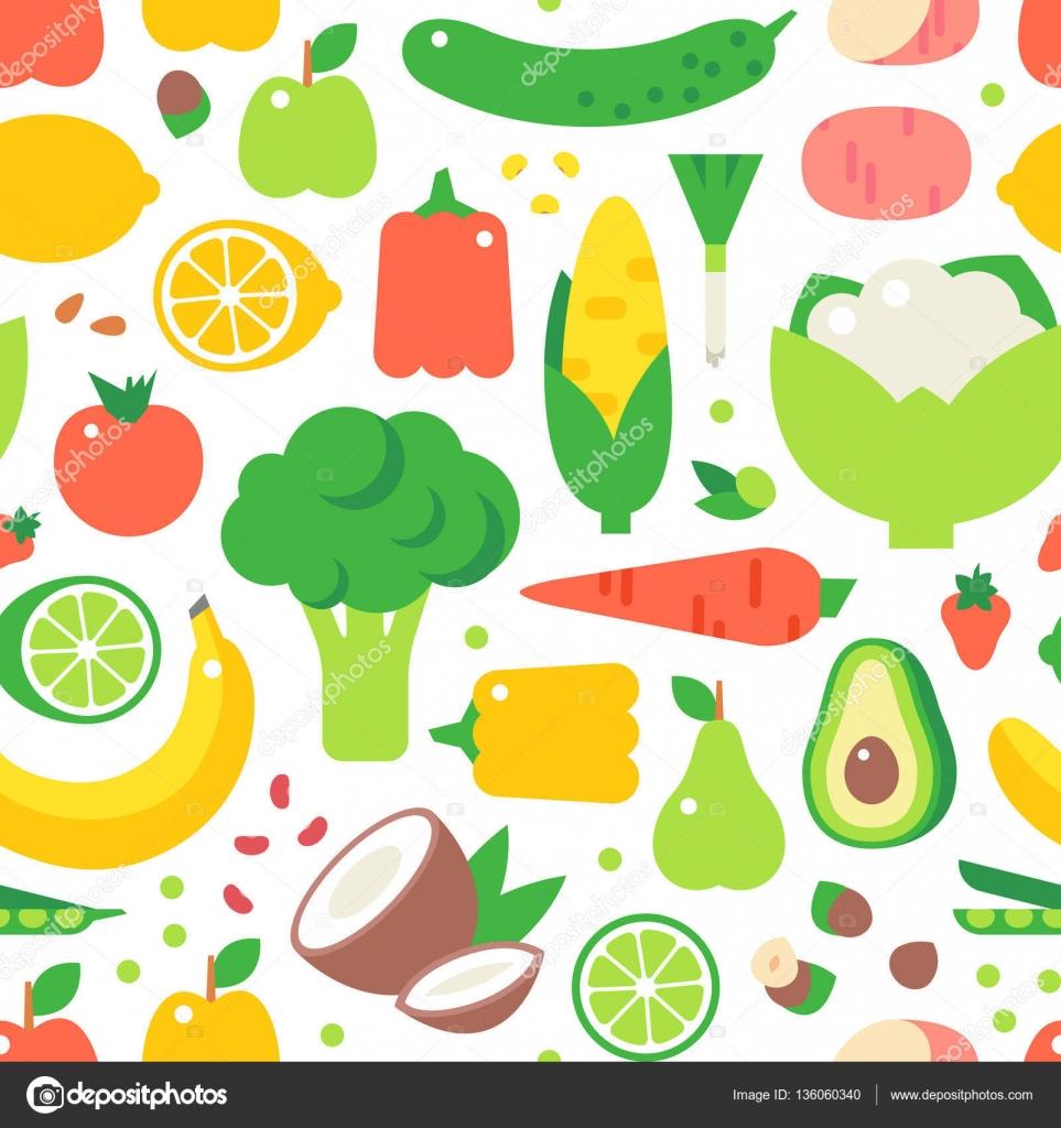 Bukiet Warzyw Zdrowe Jedzenie Wektor Wzor Grafika Wektorowa