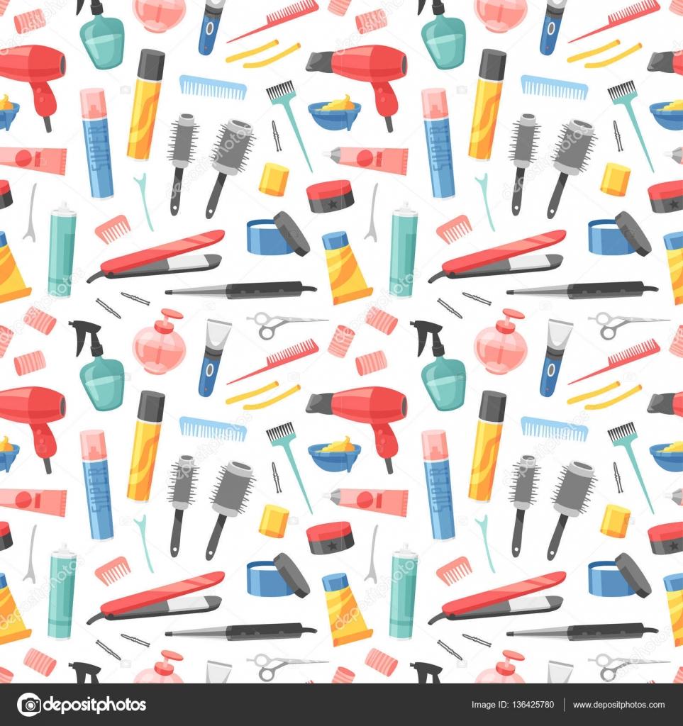 Hair Stylist Wallpaper Hairdresser Seamless Pattern Vector Stock Vector C Adekvat 136425780