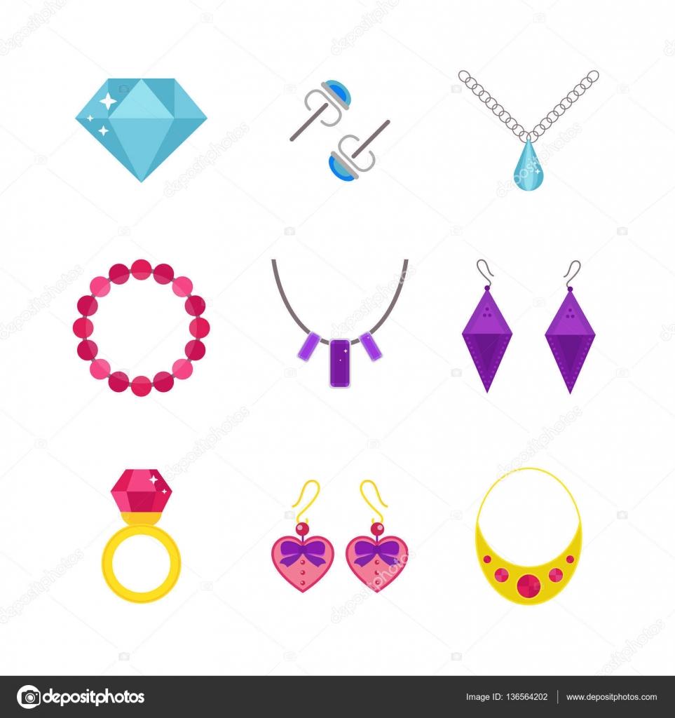 Bijoux Dessin ensemble de vecteur de dessin animé bijoux accessoires — image