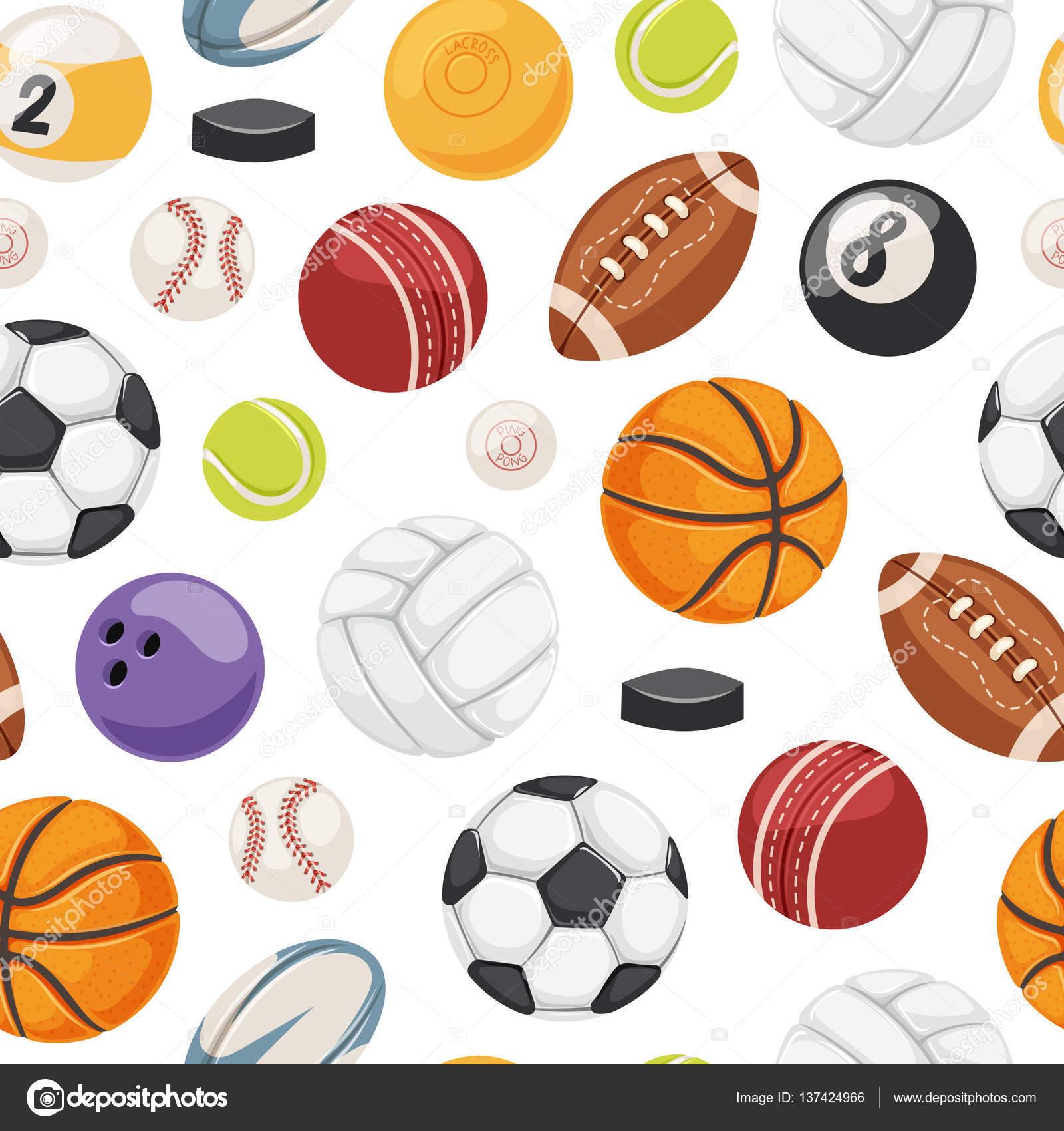 Спортивные мячи бесшовный узор