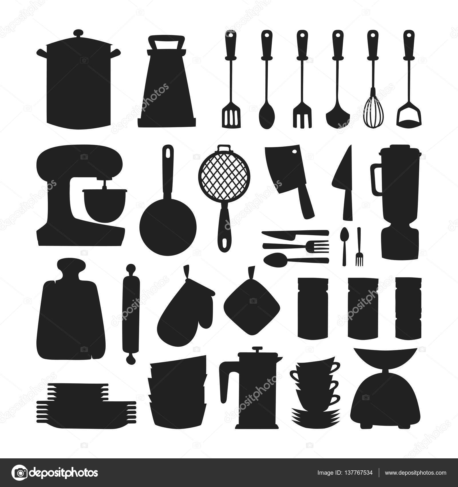 Keukengerei silhouet vector iconen stockvector adekvat for Equipo menor de cocina
