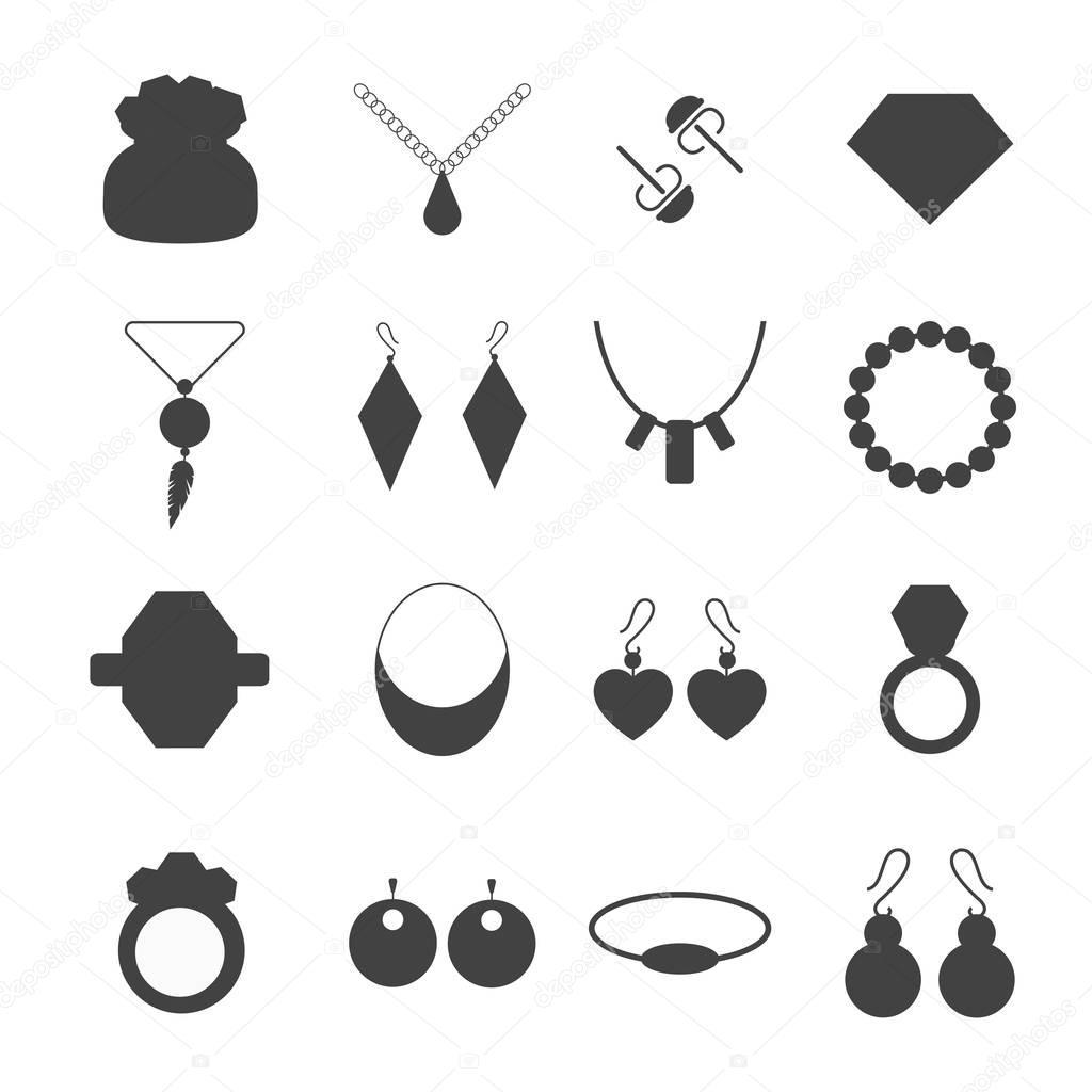 Silhouette Earrings: Acessórios De Joias Silhueta Vector