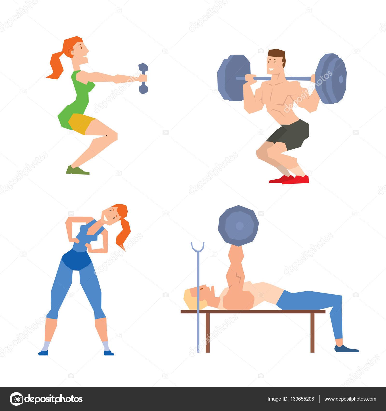 Vector de dibujos animados deporte gimnasio personas for El gimnasio es un deporte