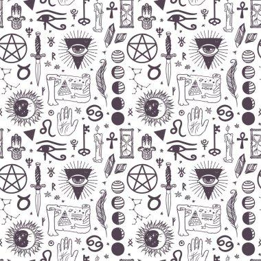 Vector esoteric astrology symbols pattern