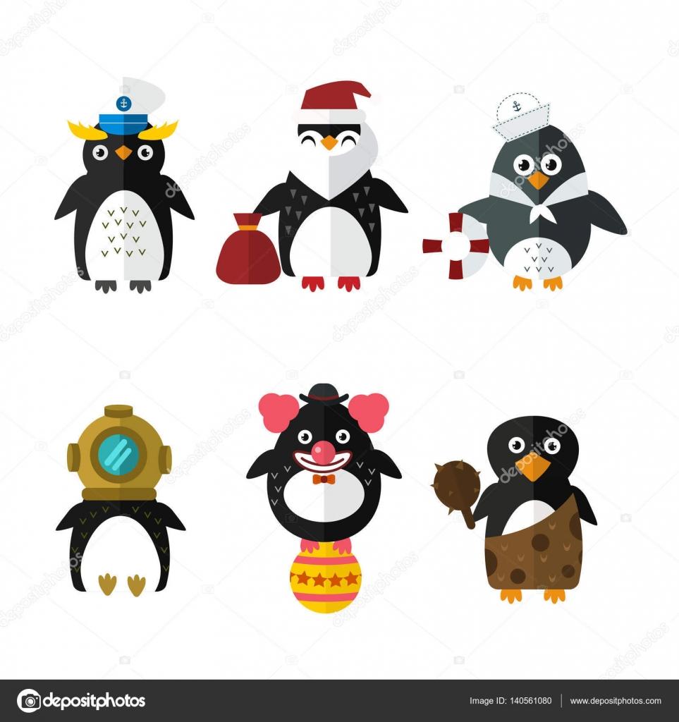 ペンギン セーラー サンタ ベクトル動物キャラ イラスト — ストック