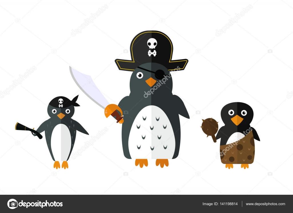 ペンギン海賊ベクトル動物キャラ イラスト ストックベクター Adekvat