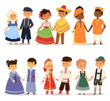 Traditional kids couples character of world dress girls and boys in different national costumes and cute little children nationality dress vector illustration. Cultural friendship child ethnic group. stock vector