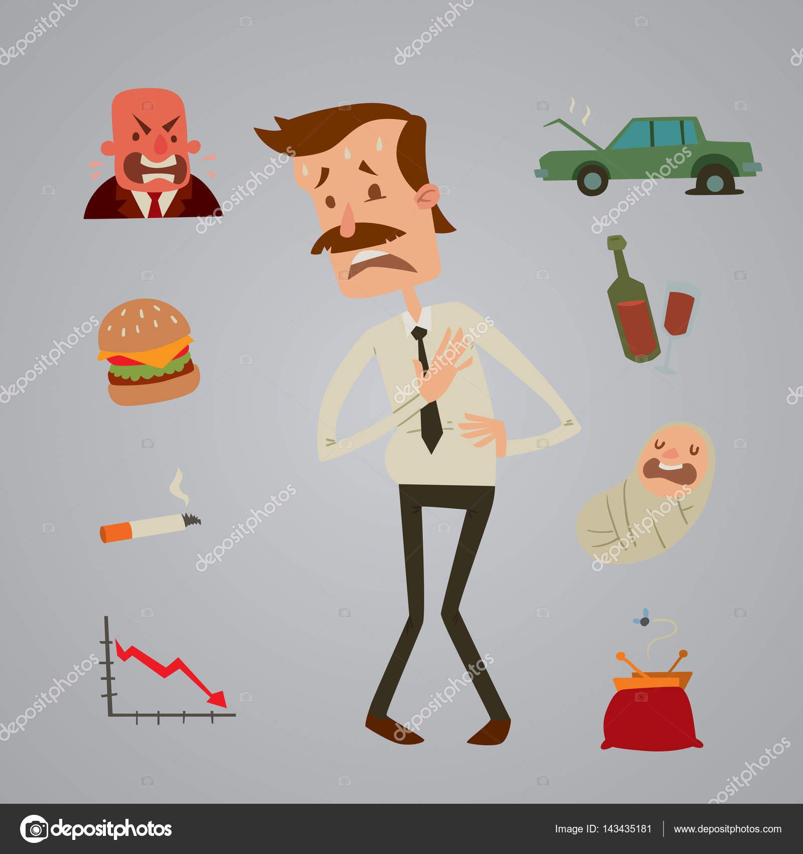 Geschäftsmann Herz Risiko Mann Herzinfarkt Stress Infarkt Vektor ...