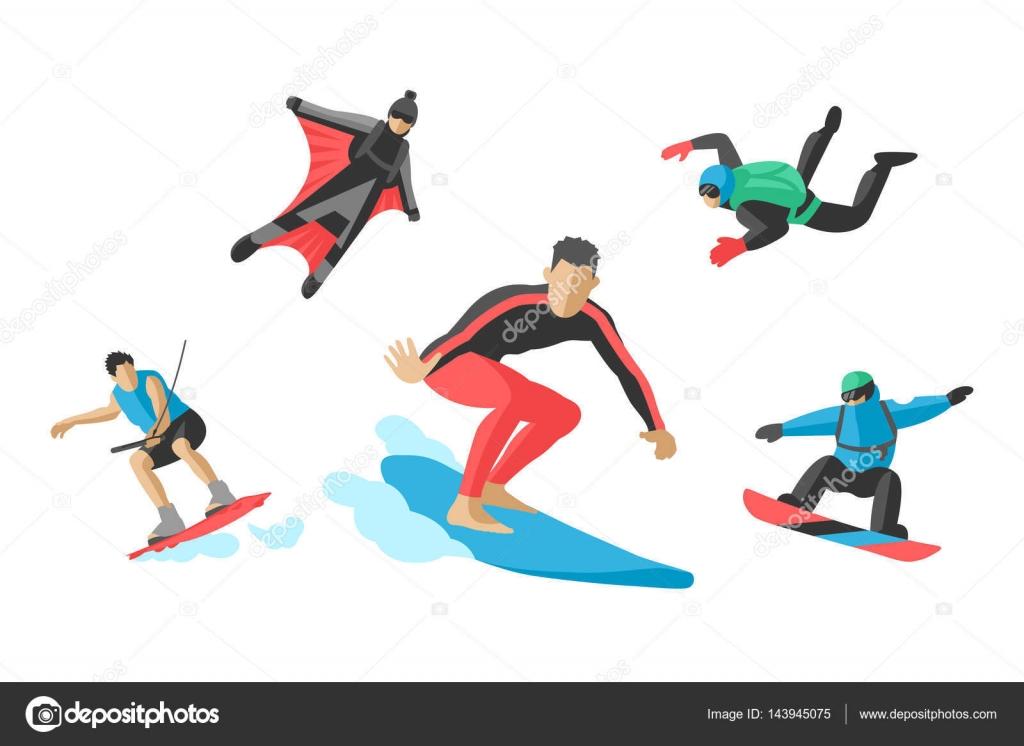 Roller skate xtreme - Vector Jumping Extreme Athletes Silhouettes Illustration Life Skateboard Set Speed Skydiver Skateboarder Roller Skate Wakeboard Surfing