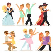 Dancing couples romantic person and people dance man with woman entertainment together beauty vector illustration.