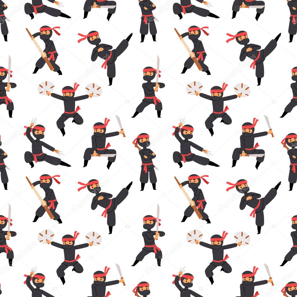 Different poses of ninja fighter in black cloth character warrior sword martial weapon japanese man and karate cartoon person seamless pattern vector.