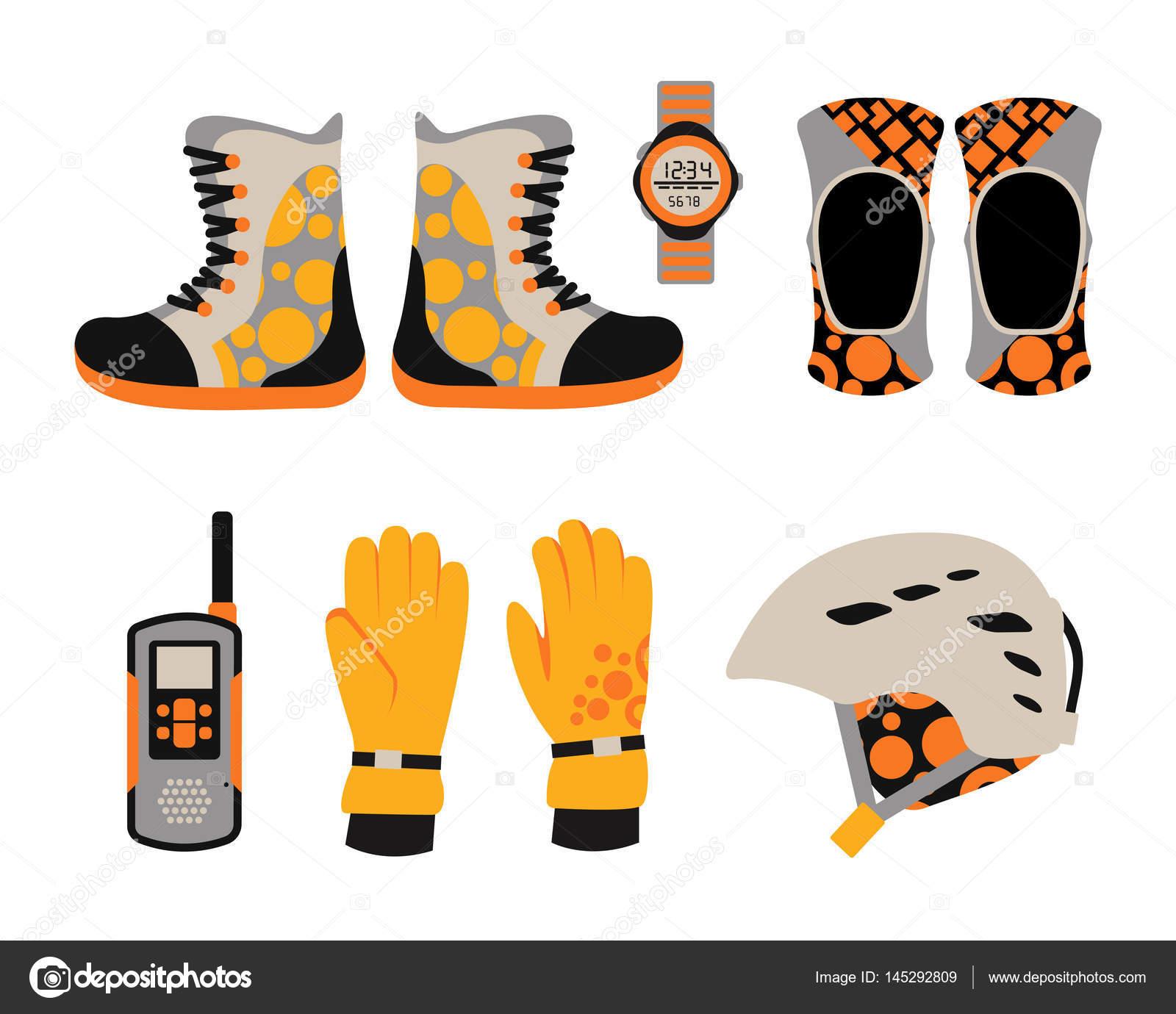 06c711cec61 Snowboard sport kläder och verktyg element. Snowboard element isolerad på  vit bakgrund. vinter sportutrustning — Vektor av ...